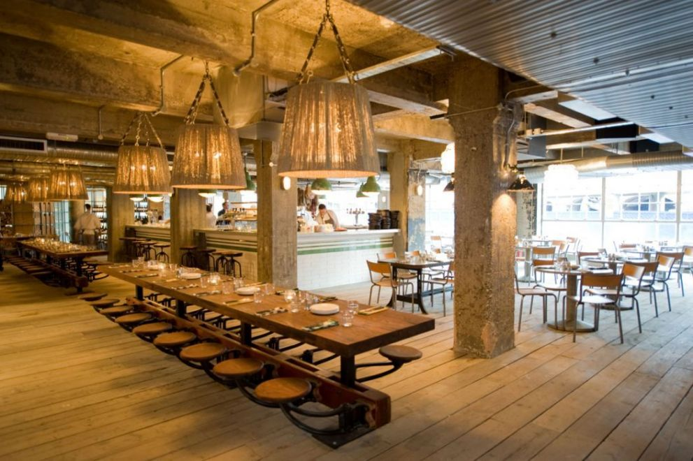 Restaurant interiors pizza east for Restaurant design london